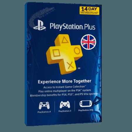 خرید گیفت کارت 14 روزه Playstation Plus انگلیس
