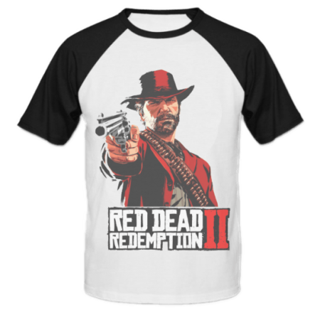خرید تی شرت یقه و آستین سیاه طرح آرتور مورگان