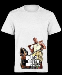 خرید تی شرت سفید طرح جی تی ای پنج 1