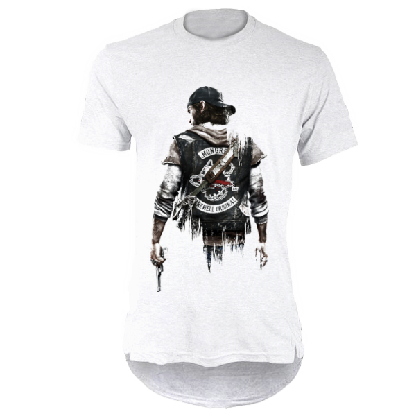 خرید تی شرت لانگ سفید طرح دیز گان