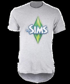 خرید تی شرت لانگ خاکستری طرح د سیمز