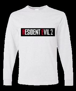 خرید تی شرت آستین بلند سفید طرح رزیدنت ایول دو