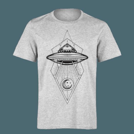 خرید تی شرت خاکستری طرح سفینه فضایی 1