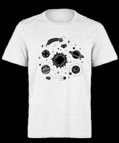 خرید تی شرت سفید طرح سیارات