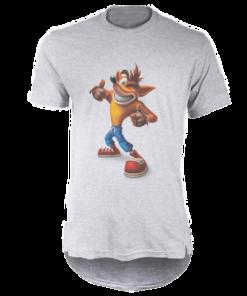خرید تی شرت لانگ خاکستری طرح کرش بندی کت