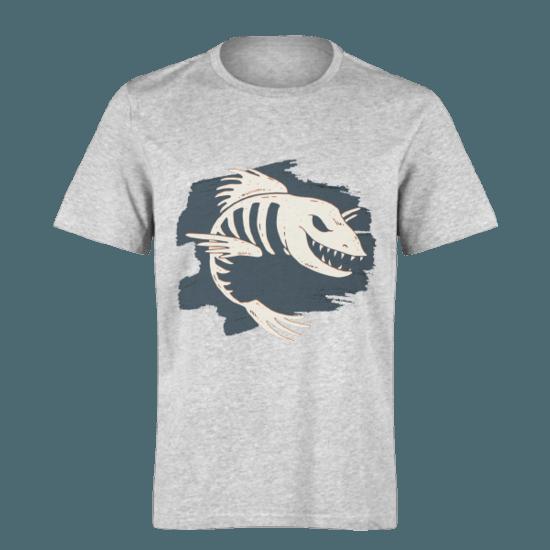 خرید تی شرت خاکستری طرح ماهی 1