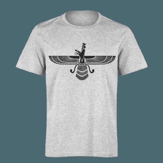 خرید تی شرت خاکستری طرح فروهر 1