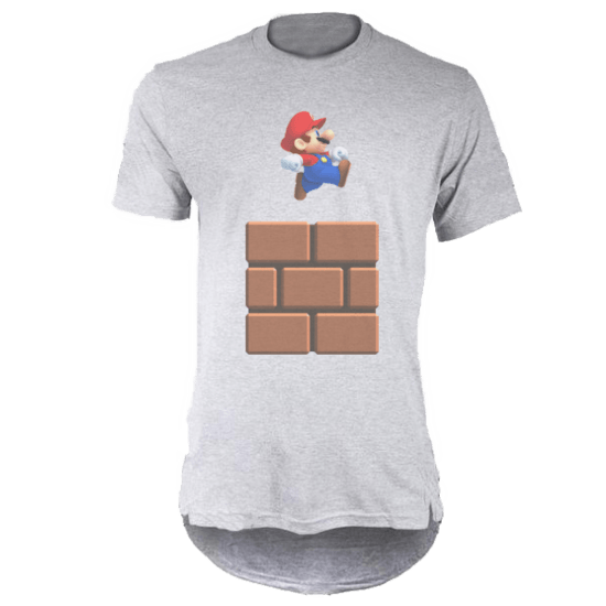 خرید تی شرت لانگ خاکستری طرح ماریو 1