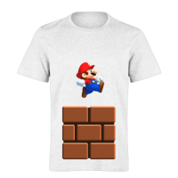 خرید تی شرت سفید طرح ماریو 1