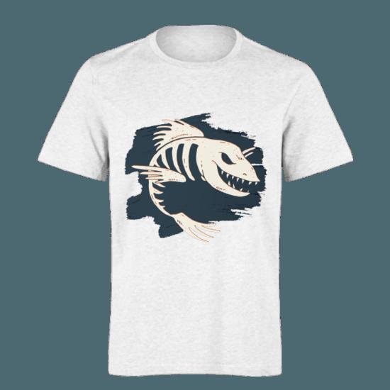 خرید تی شرت سفید طرح ماهی 2