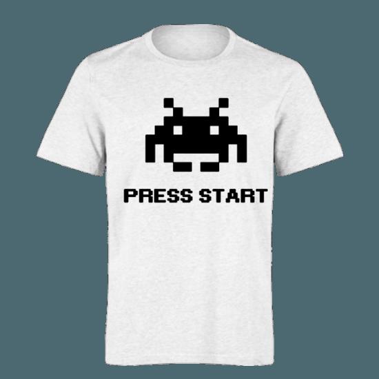 خرید تی شرت سفید طرح پرس استارت 1