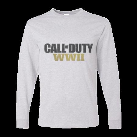 خرید تی شرت آستین بلند خاکستری طرح کال آو دیوتی