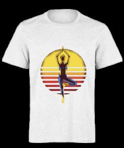 خرید تی شرت سفید طرح یوگا 1