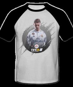 خرید تی شرت یقه و آستین سیاه طرح فیفا هجده 1
