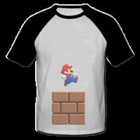 خرید تی شرت یقه و آستین سیاه طرح ماریو 1