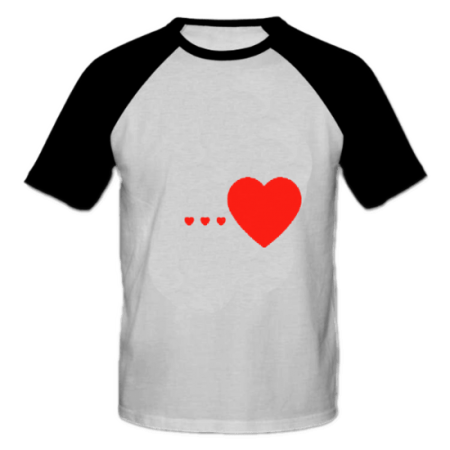خرید تی شرت یقه و آستین سیاه طرح قلب 1