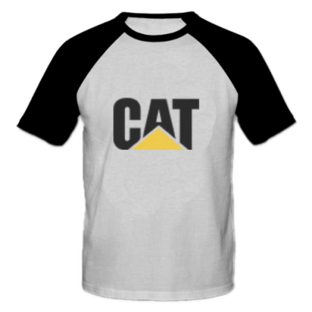 خرید تی شرت یقه و آستین سیاه طرح کاترپیلار 2
