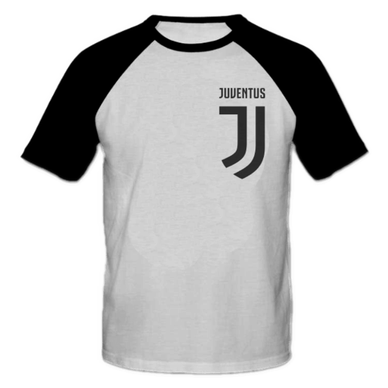 خرید تی شرت یقه و آستین سیاه طرح یوونتوس 1