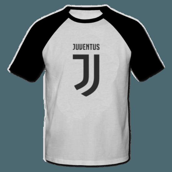 خرید تی شرت یقه و آستین سیاه طرح یوونتوس 2