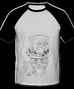 خرید تی شرت یقه و آستین سیاه طرح اسکلت 2