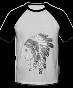 خرید تی شرت یقه و آستین سیاه طرح سرخپوست 1