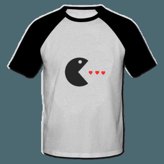 خرید تی شرت یقه و آستین سیاه طرح پک من 1