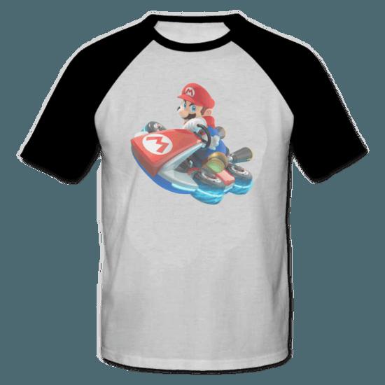 خرید تی شرت یقه و آستین سیاه طرح ماریو 3