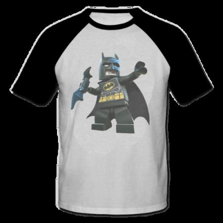 خرید تی شرت یقه و آستین سیاه طرح لگو بت من 1