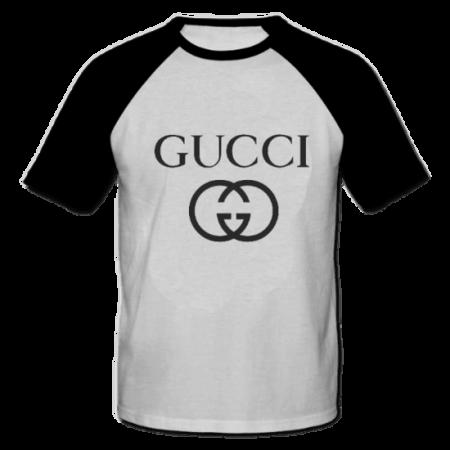 خرید تی شرت یقه و آستین سیاه طرح گوچی 1