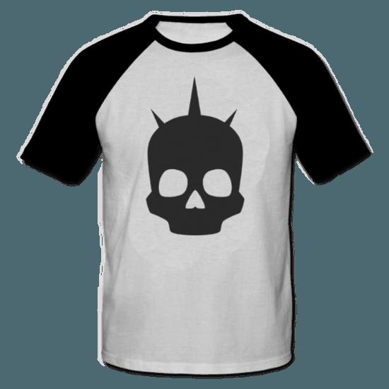 خرید تی شرت یقه و آستین سیاه طرح اسکلت 1