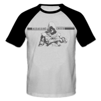 خرید تی شرت یقه و آستین سیاه طرح اساسینز کرید 1