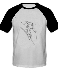 خرید تی شرت یقه و آستین سیاه طرح اسکی 1