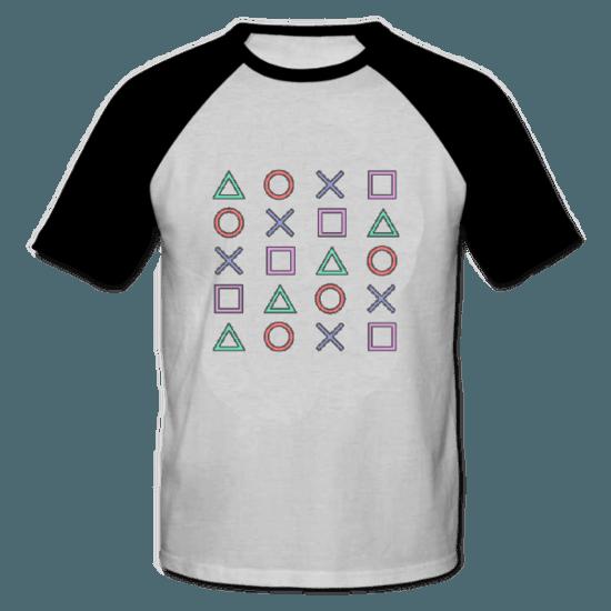 خرید تی شرت یقه و آستین سیاه طرح پلی استیشن 1