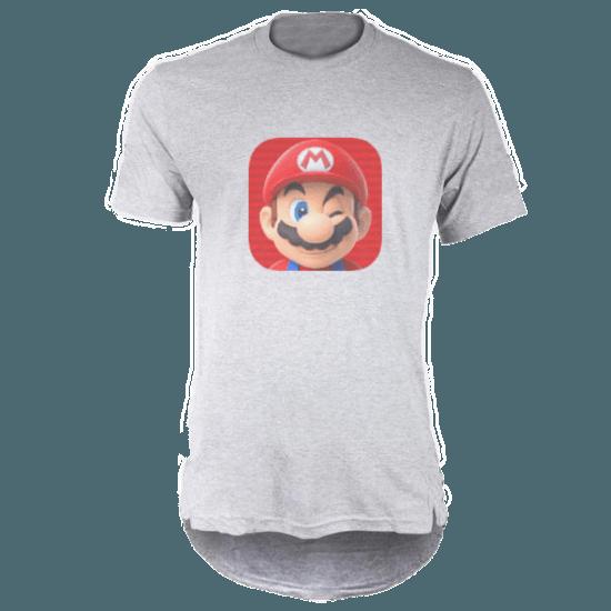 تی شرت لانگ خاکستری طرح ماریو 2