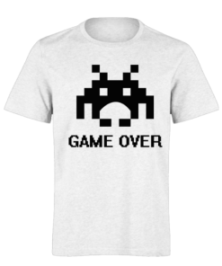 خرید تی شرت سفید طرح گیم اوور 1