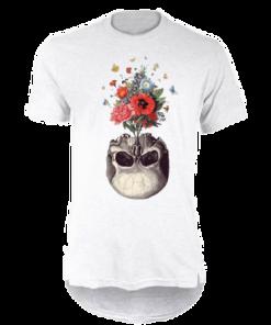 خرید تی شرت لانگ سفید طرح اسکلت و گل
