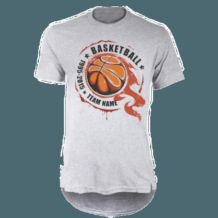 خرید تی شرت لانگ خاکستری طرح بسکتبال