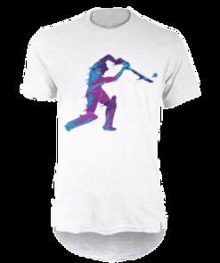 خرید تی شرت لانگ سفید طرح بیسبال