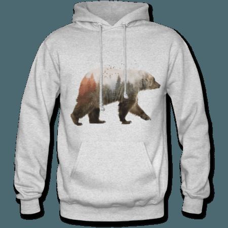 خرید هودی خاکستری طرح خرس