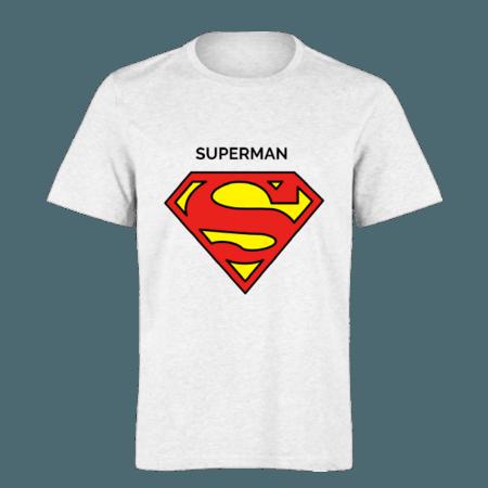 خرید تی شرت سفید طرح سوپر من