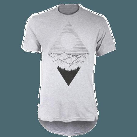 خرید تی شرت لانگ خاکستری طرح طبیعت