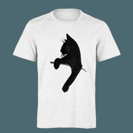 خرید تی شرت سفید طرح گربه