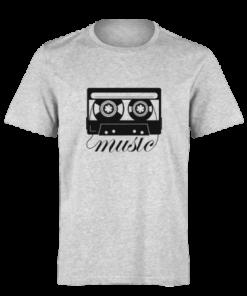 خرید تی شرت خاکستری طرح موزیک