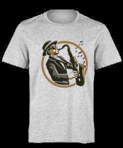 خرید تی شرت خاکستری طرح نوازنده ساکسیفون
