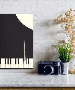 نمای روی دیوار تابلو بوم پیانو