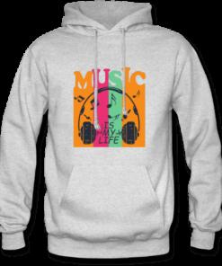 خرید هودی خاکستری طرح میوزیک ایز مای لایف