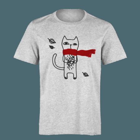 خرید تی شرت خاکستری طرح گربه