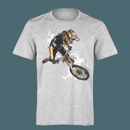 خرید تی شرت خاکستری طرح موتور سوار