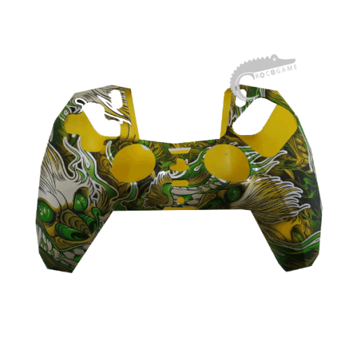 روکش سیلیکونی قاب دسته پلی استیشن 5 کاور دسته PS5 Dualsense مدل اژدها سبز